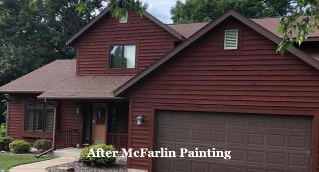 house exterior after staining